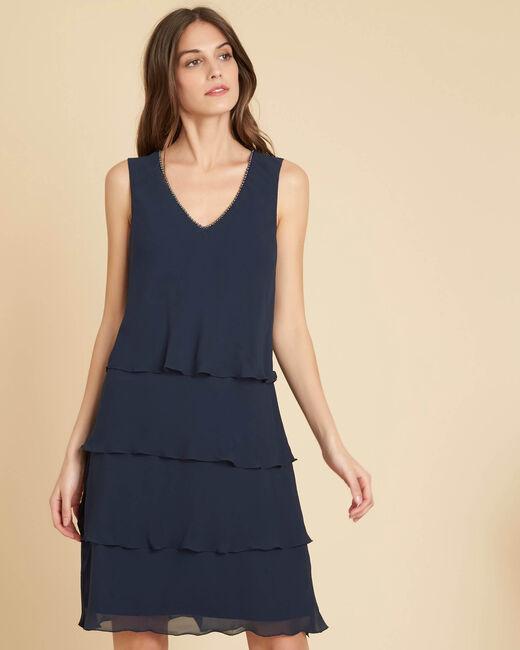 Marineblauwe jurk met ruches en kraag met parels Illiade (2) - 37653