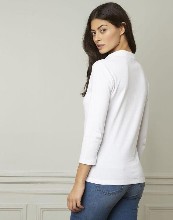 Tee-shirt blanc encolure V en lurex Primerose (3) - Maison 123