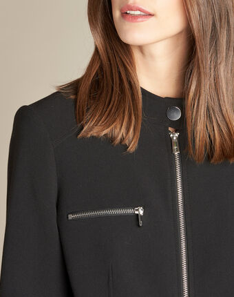 Veste noire compacte façon blouson chataigne noir.