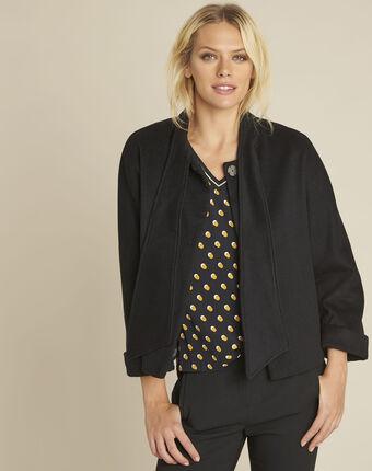 Soft black wool mix jacket with scarf black.
