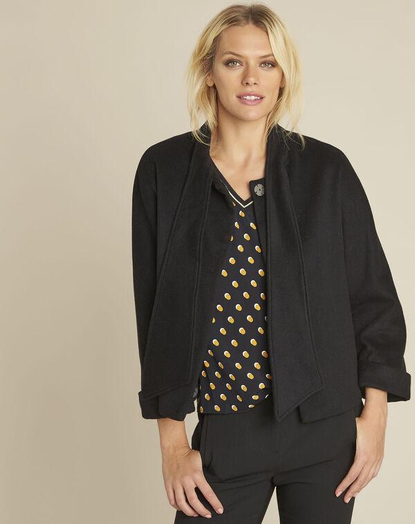 Schwarze Jacke mit Schal aus Wollgemisch Soft (1) - 1-2-3