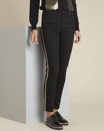 Maddie black slim-cut 7/8 jeans with sidebands black.