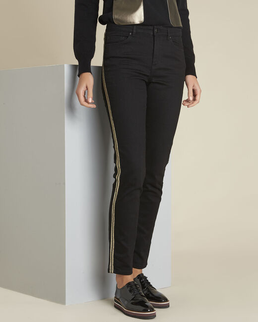 Maddie black slim-cut 7/8 jeans with sidebands (1) - 1-2-3