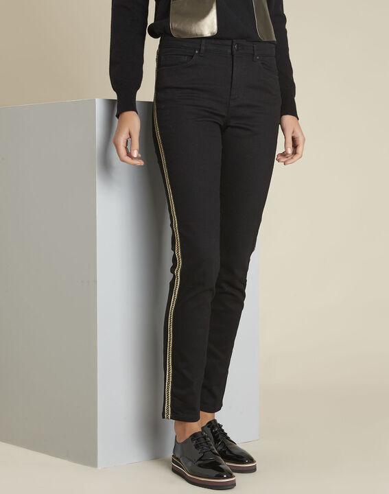 7/8 straight-fit zwarte jeans met strook op de zijkant Maddie PhotoZ | 1-2-3