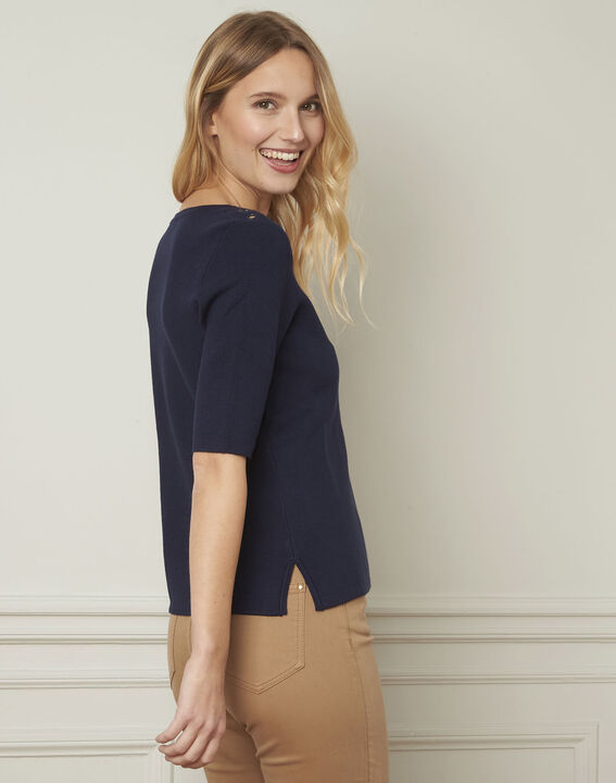 Pull marine compact oeillets Abricot (3) - Maison 123