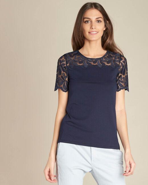 Marineblaues Spitzen-T-Shirt Esmeralda (2) - 1-2-3