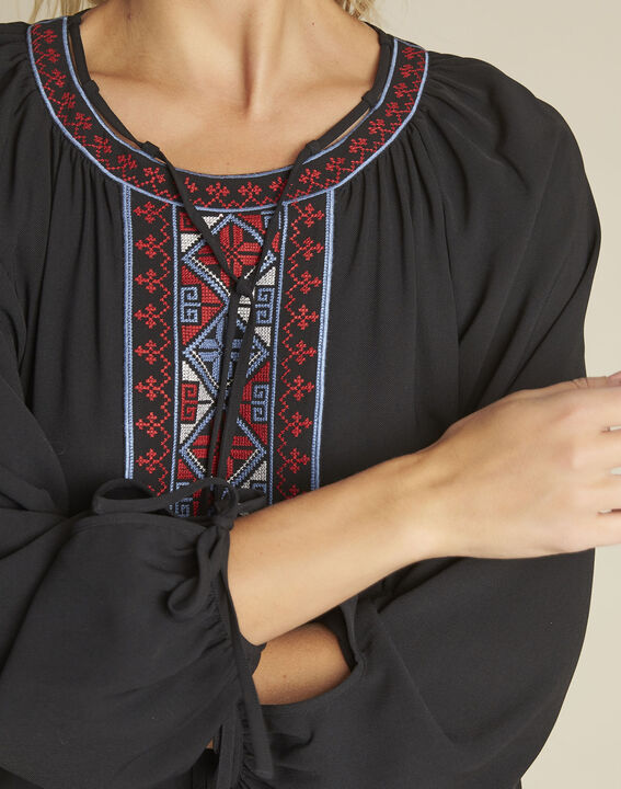 Cerise black blouse with embroidered neckline (3) - 1-2-3