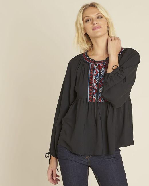 Schwarze Bluse mit besticktem Ausschnitt Cerise (2) - 1-2-3