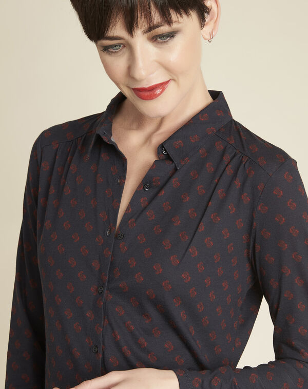 Gaudi navy shirt with print (2) - 1-2-3