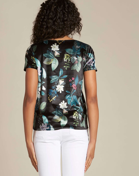 Evy black T-shirt with floral print (4) - 1-2-3