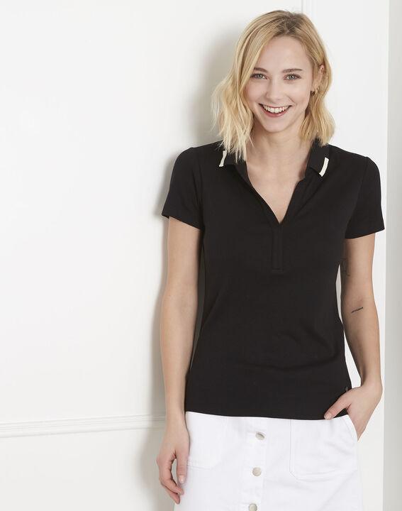 Tee-shirt noir encolure polo Prudence (1) - Maison 123