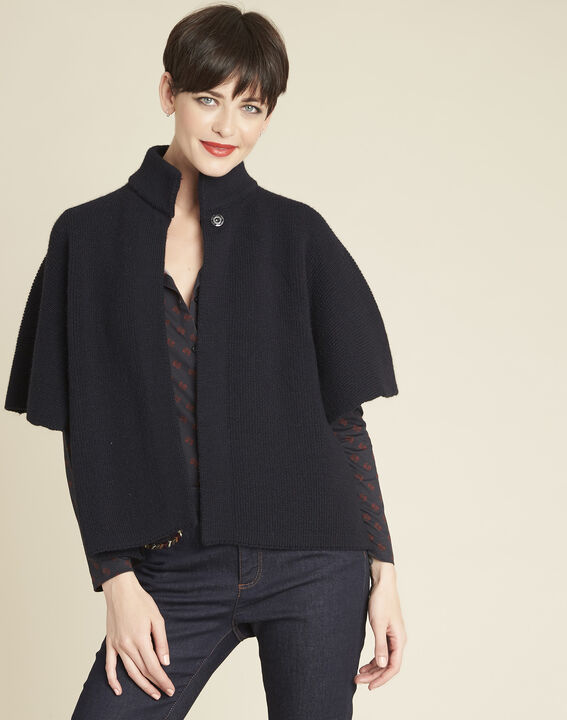 Bologne navy cape with high collar PhotoZ | 1-2-3