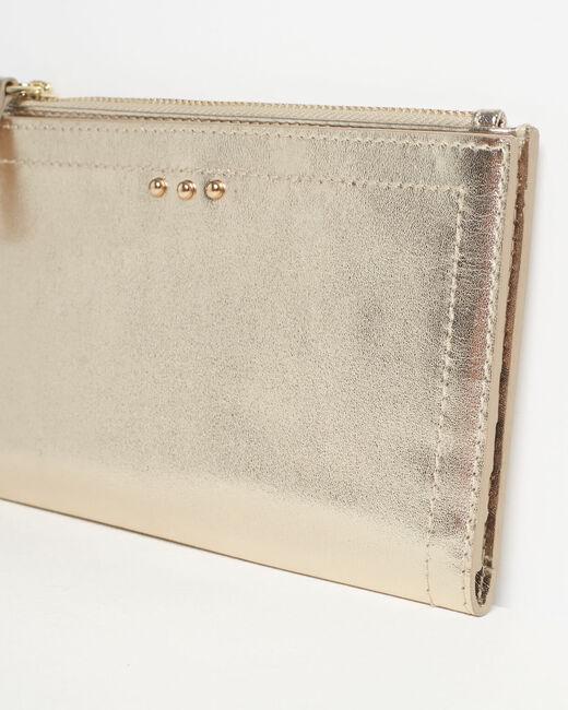 Goldenes Leder-Portemonnaie mit zwei Klappen Dita (2) - 1-2-3