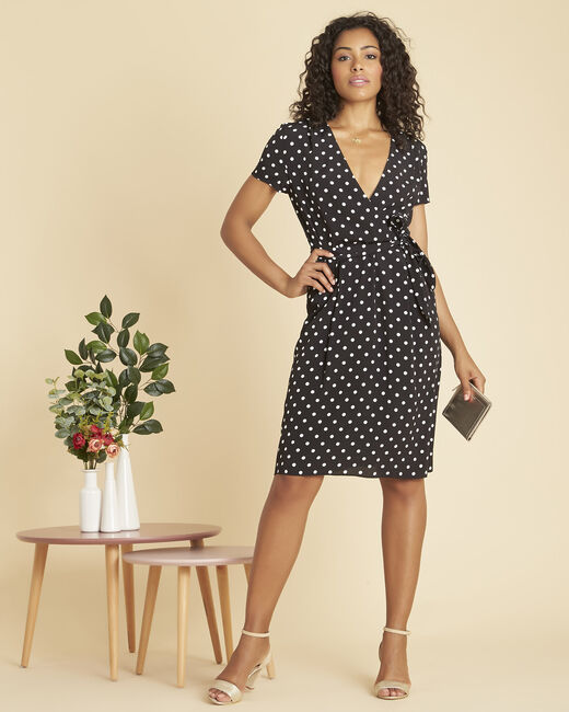 Perla black, polka-dot wrap dress (1) - 1-2-3