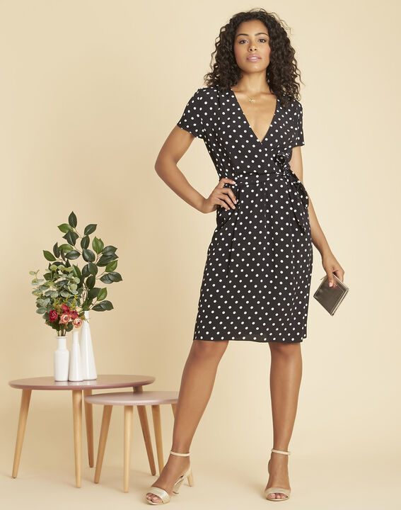 Perla black, polka-dot wrap dress (2) - 1-2-3