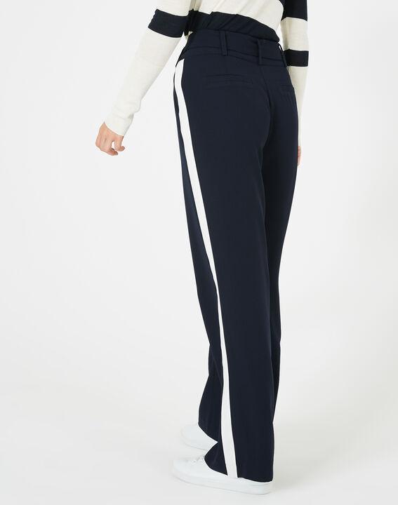 Pantalon bleu marine fluide bande côté Kamelia (4) - 1-2-3