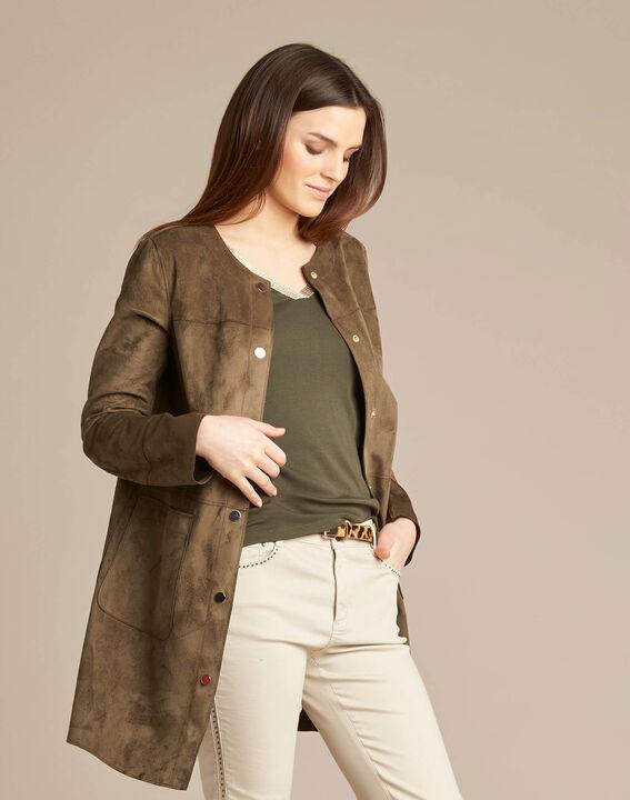 Fabiana long sheepskin-look khaki coat (3) - 1-2-3
