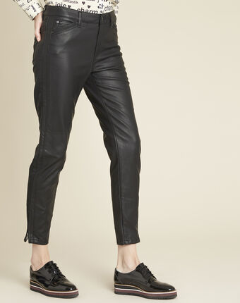 Opéra 7/8-length jeans in faux leather black.