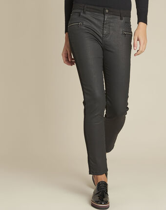 Vendome black bi-material coated 7/8 jeans black.