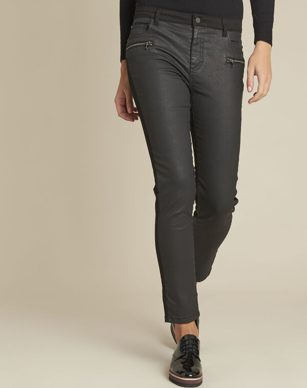 Vendome black bi-material coated 7/8 jeans (1) - 1-2-3
