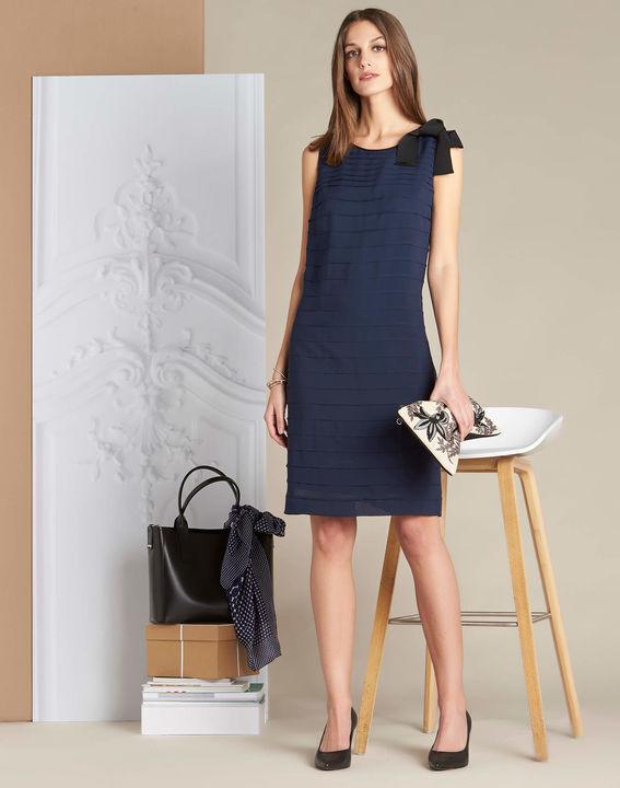 Marineblauwe jurk van zijde met volants Ines (3) - 37653