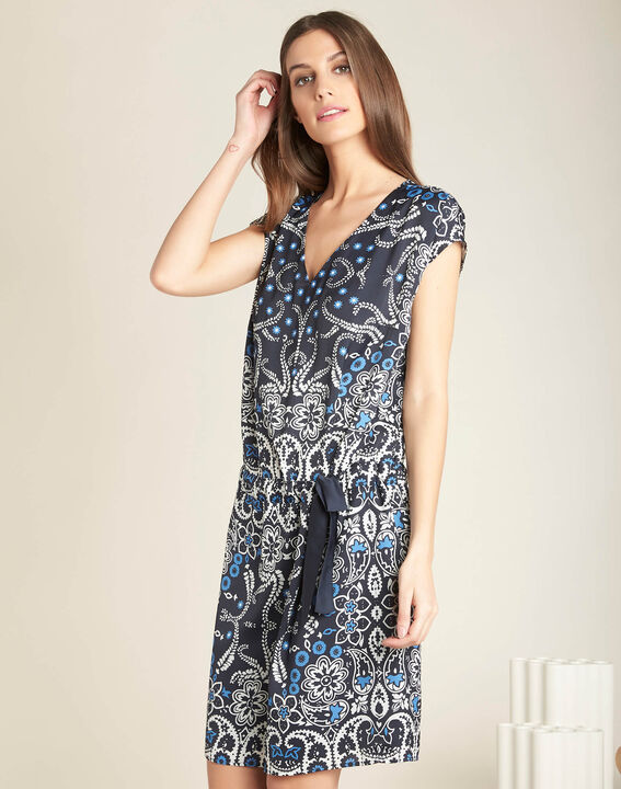 Pauline navy blue floral printed dress with belt (3) - 1-2-3