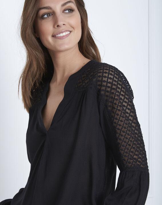 Zwarte blouse van kant Valy (3) - Maison 123