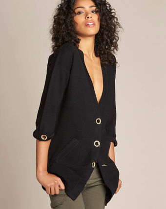 Nelson black cardigan with golden fastening black.