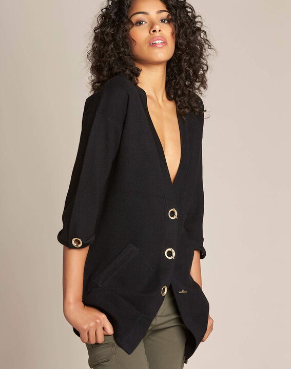 Nelson black cardigan with golden fastening PhotoZ | 1-2-3