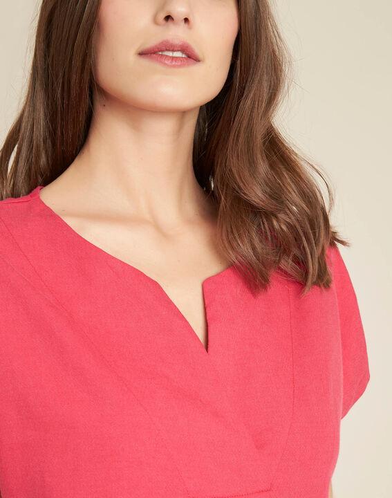 Fuchsienrotes T-Shirt im Materialmix mit Tunika-Kragen Gaia PhotoZ | 1-2-3