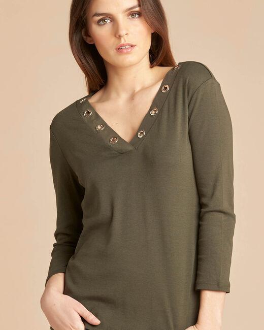 Basic khaki T-shirt with rounded neckline and eyelets (1) - 1-2-3
