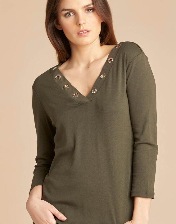 Basic khaki T-shirt with rounded neckline and eyelets PhotoZ | 1-2-3