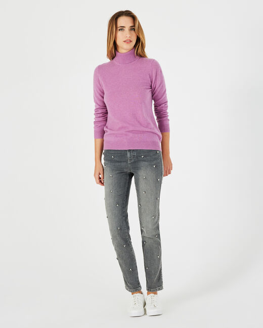 Perceneige violet polo-neck cashmere sweater (1) - 1-2-3