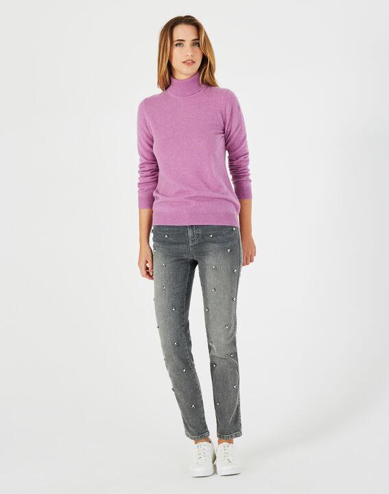 Pull violet col roulé en cachemire Perceneige PhotoZ | 1-2-3