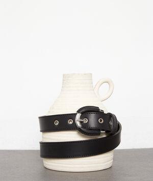 Ceinture fine en cuir noir Eleonore