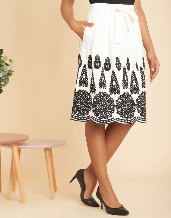 Lia ecru linen skirt with embroidery (3) - 1-2-3