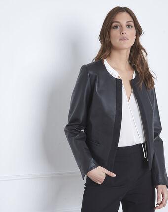 Veste noire en cuir gros grain charme noir.