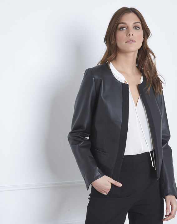 Charme black grosgrain leather jacket (2) - 1-2-3