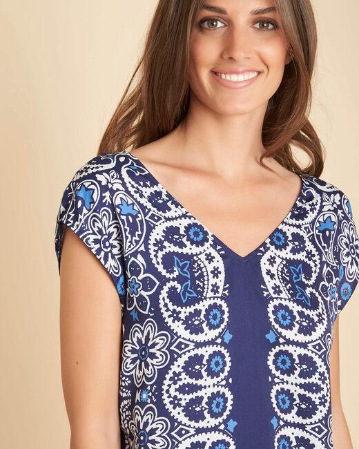 Gromy navy blue printed blouse (2) - 1-2-3