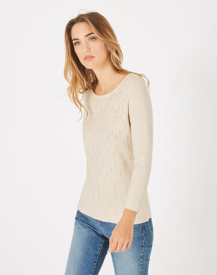 Pluie beige sweater with diamante and round neck (3) - 1-2-3