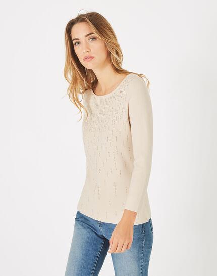 Beigefarbener Pullover mit Rundhalsausschnitt und Strass Pluie (3) - 1-2-3