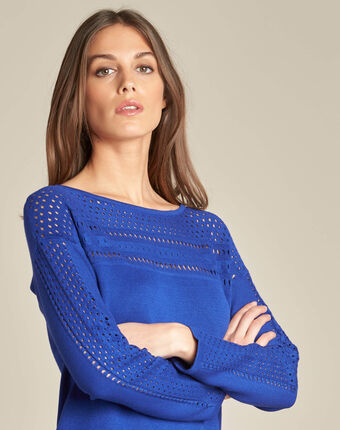 Nefle royal blue sweater with openwork neckline royal blue.
