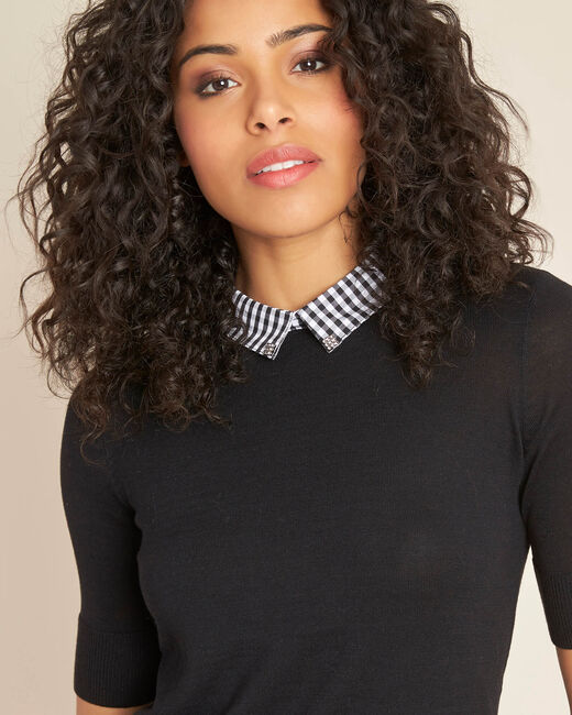 Noella black sweater with contrasting shirt collar (2) - 1-2-3