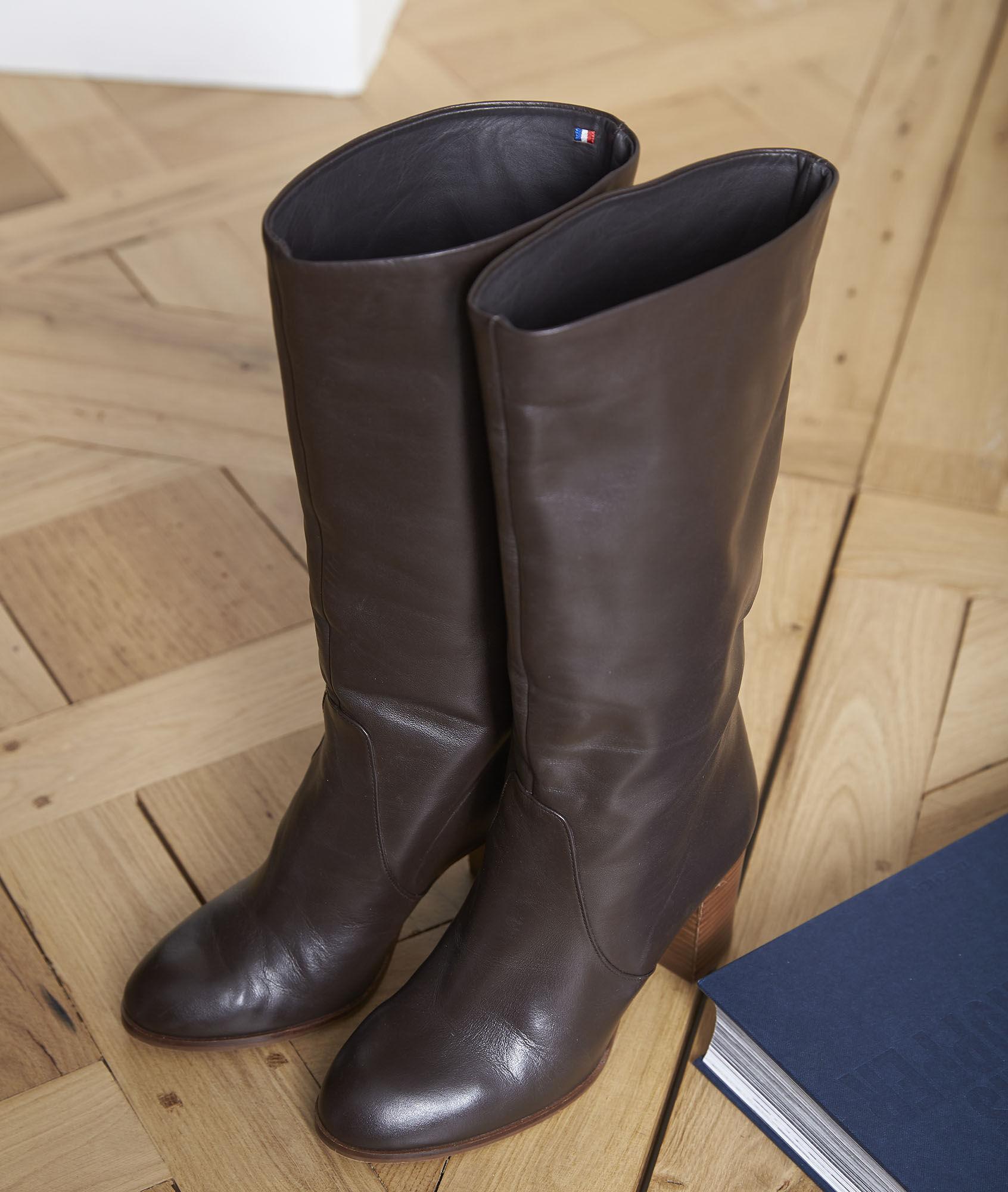 123 cuir talons Nadège en FemmeMaison Bottes marron à j5L4RA