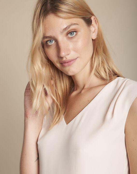 Nude blouse uit twee stoffen met V-hals Neptune PhotoZ | 1-2-3