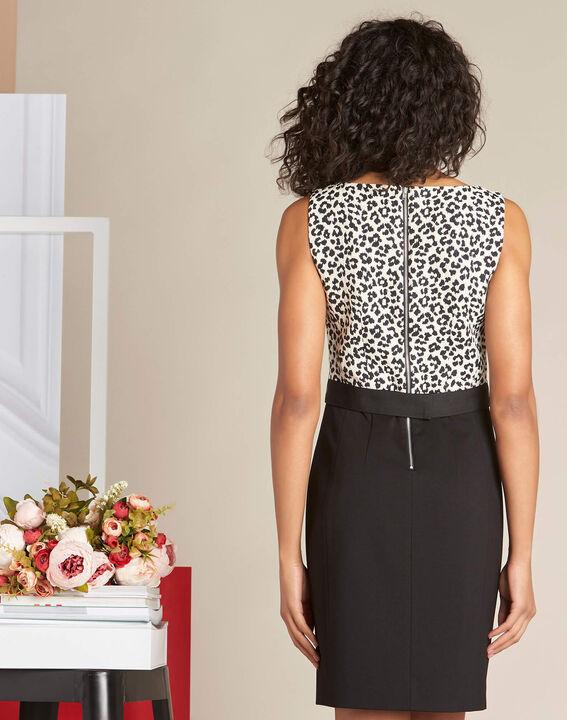Paola dual-fabric Jacquard-effect black shift dress (4) - 1-2-3