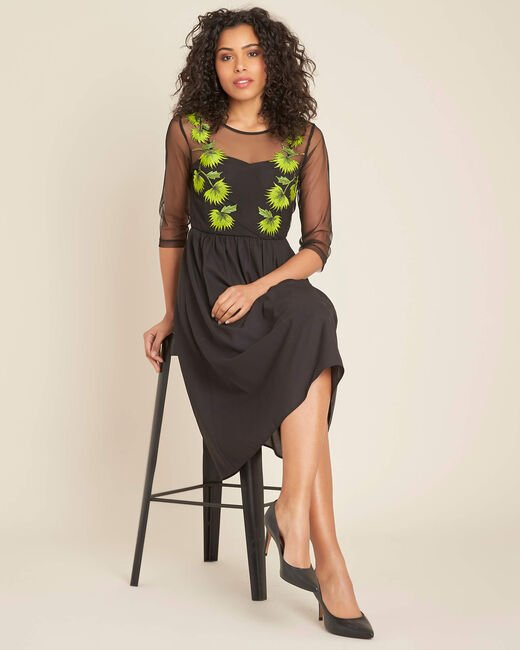 Ipnose black embroidered dress in tulle (1) - 1-2-3