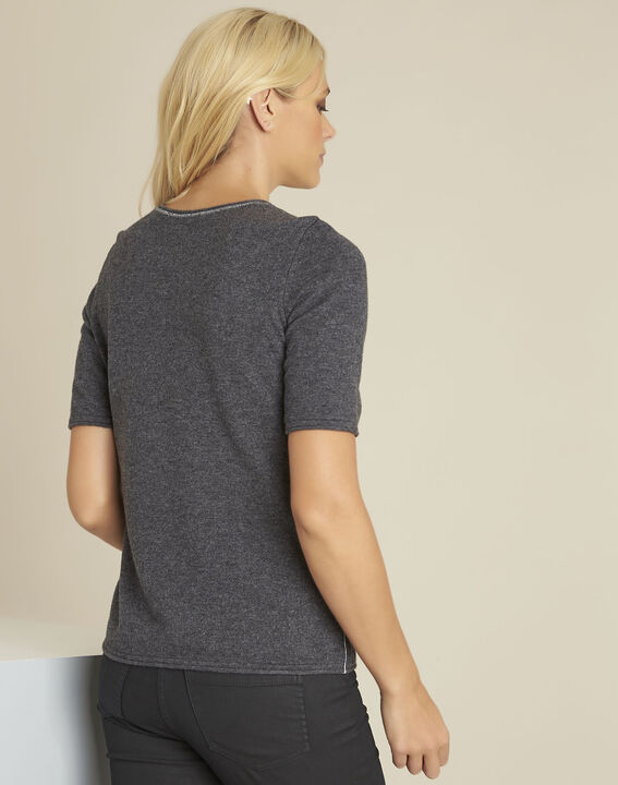 Ballet grey wool cashmere pullover with short sleeves (4) - 1-2-3