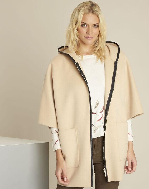 Manteau camel à capuche laine mélangée Eden PhotoZ | 1-2-3