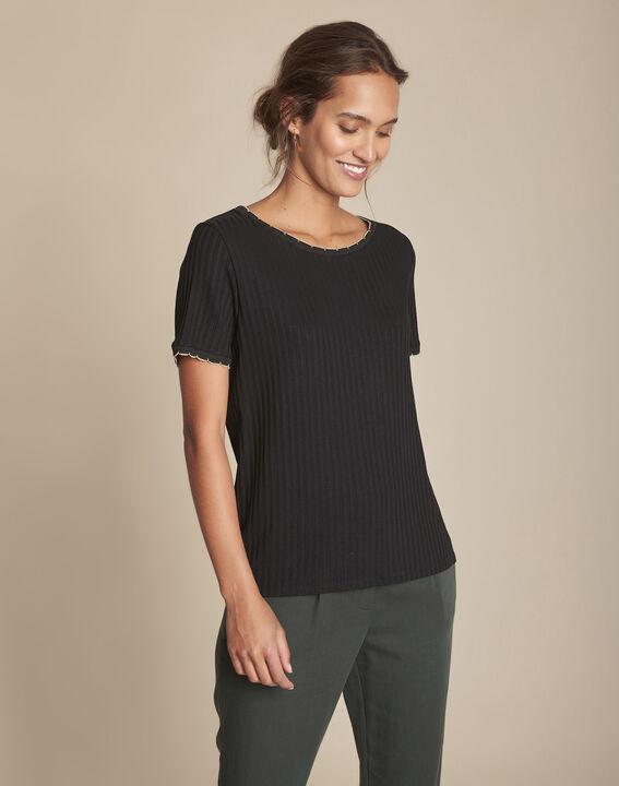Tee-shirt noir côtelé Charlotte PhotoZ   1-2-3